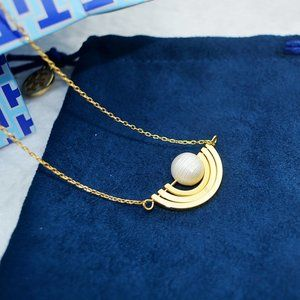 ToryBurch Double T Pearl Inlaid Rotatable Necklace